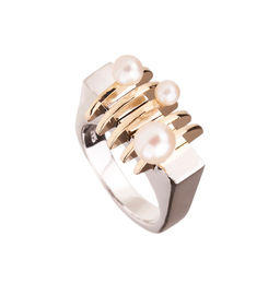Gold Philosophy: Two - Tone Arc Pearl Ring | Jewelry,Jewelry > Rings -  Hiphunters Shop