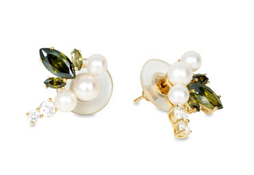 Gold Philosophy: Fairies Pearl Earrings / Green | Jewelry,Jewelry > Earrings -  Hiphunters Shop