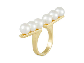 Open Bar Pearl Ring