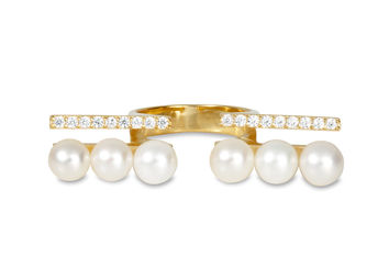 Gold Philosophy: Open Bar Diamond Pearl Ring | Jewelry,Jewelry > Rings -  Hiphunters Shop