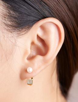 Gold Philosophy: CUBE PEARL EARRINGS | Jewelry,Jewelry > Earrings -  Hiphunters Shop
