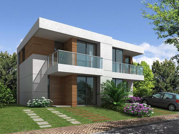 15 ideias de fachadas de casas projetos e plantas de for Fachadas de casas estilo moderno