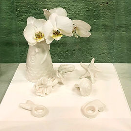 Vase KOI et bagues en porcelaine
