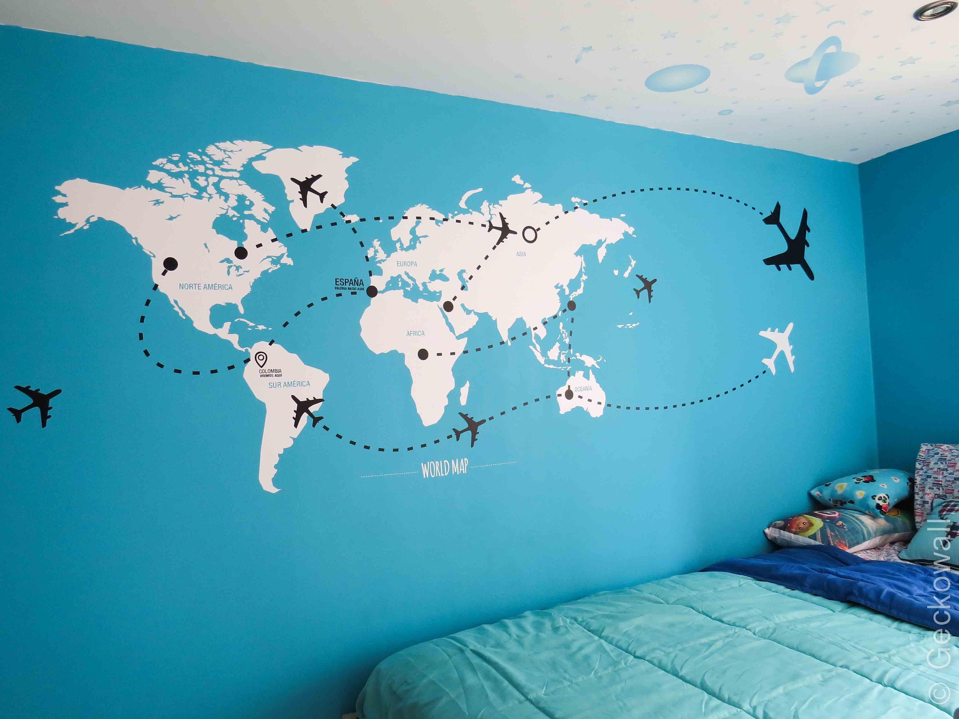 Vinilos decorativos cuadros y murales geckowall - Vinilos mapa mundi ...