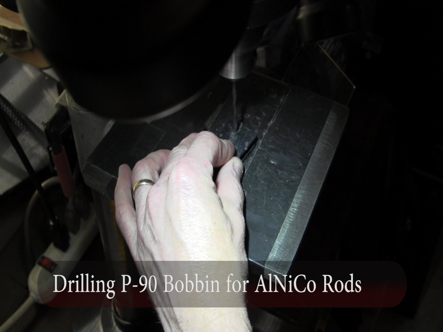 Drilling P-90 Bobbin for archtop Kay, Silvertone, Harmony pickup installation