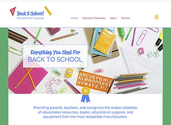 School Supplies Template - his bright and easy-to-use template is perfect for your back to school shopping bonanza! Add text and upload photos to highlight your products, and customize colors and fonts to give yourself a unique presence. Get editing for a website at the top of its class!