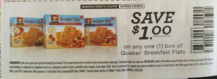 Quaker Breakfast Flats Coupons Quaker Breakfas...