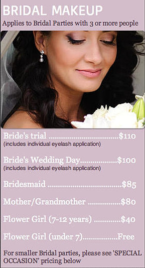 Hair, Makeup and Mobile Beauty Therapy Price List