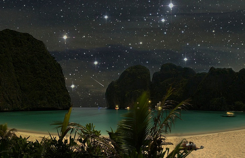 Maya Bay at night