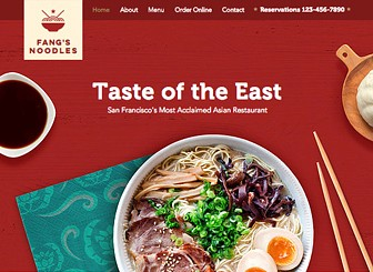 Asiatisches Restaurant Template - Warm hearts, and stomachs, with this traditional feeling Asian restaurant template. With Wix Menus, it's never been easier to manage your menu and update dishes with ease. You can upload images, adjust the prices and customize menu descriptions for all your dishes. Start editing now to attract customers to your restaurant and sample your delicious food!