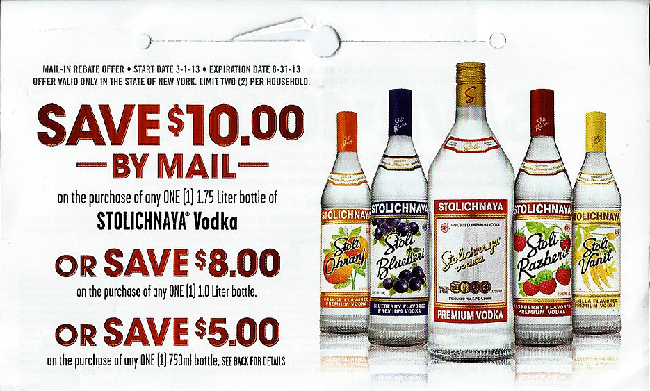 Stolichnaya Vodka Rebate