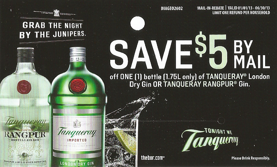 TANQUERAY Vodka or Gin Rebate