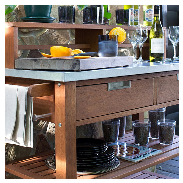 Serving Cart Kitchen Bench Table Outdoor Bar Metal Table