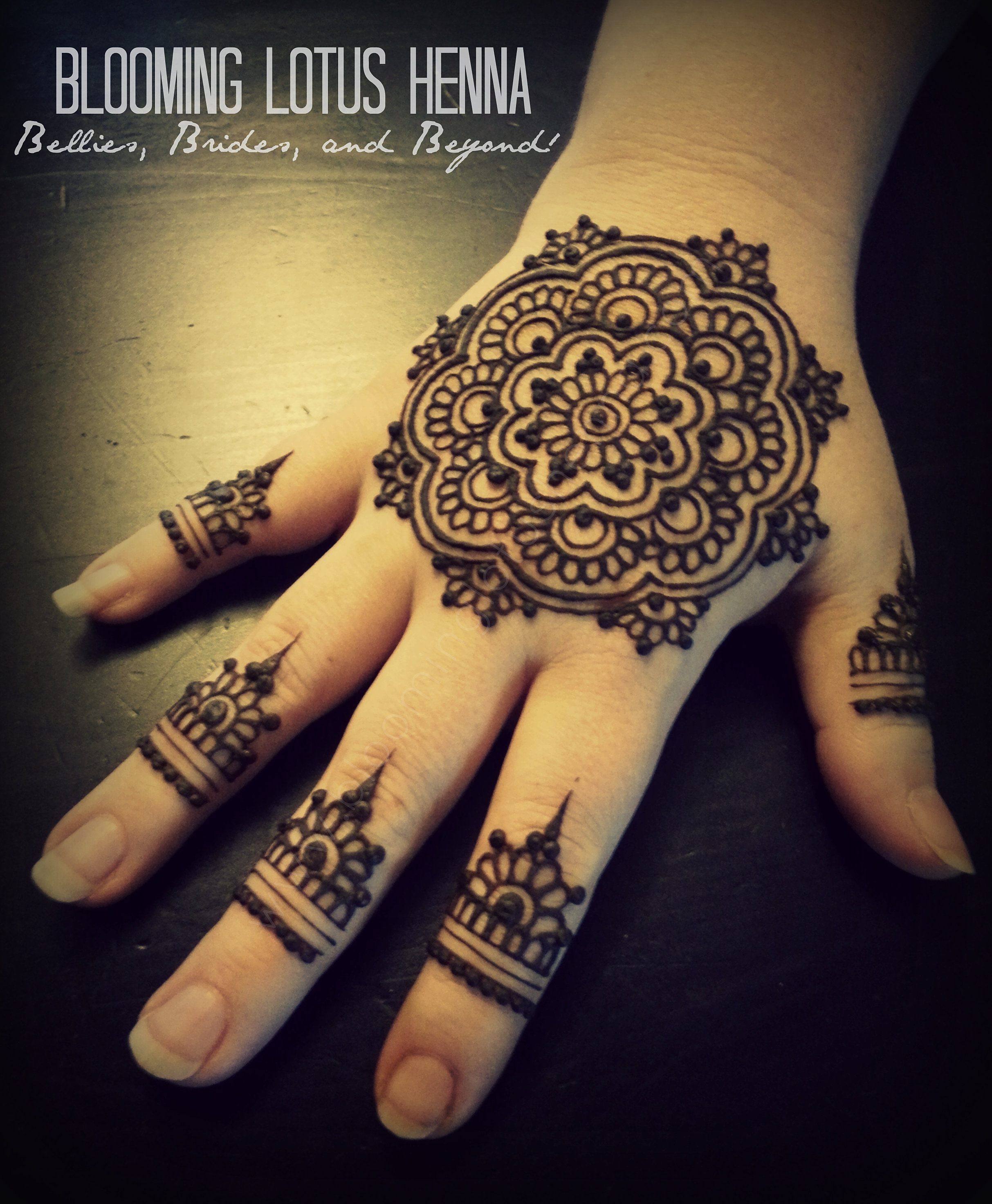 Blooming lotus henna indian bridal fusion henna for Henna tattoo fingers
