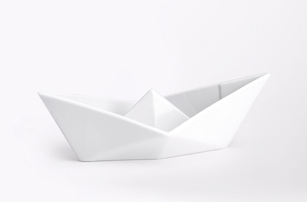 Alizi Porcelain Origami Paper Boat And Cups