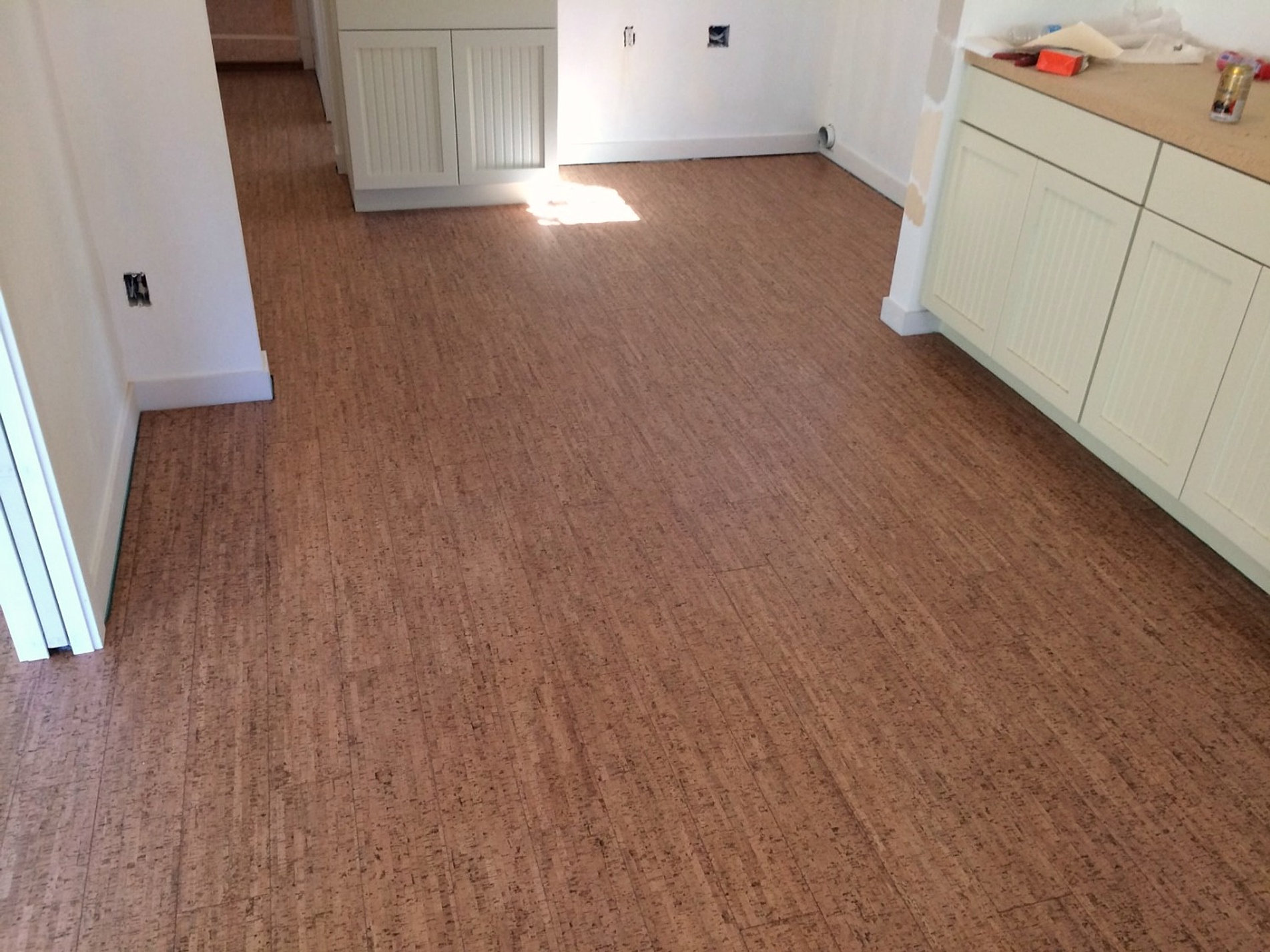 Cork flooring installation tile plank seattle for Kitchen flooring installation