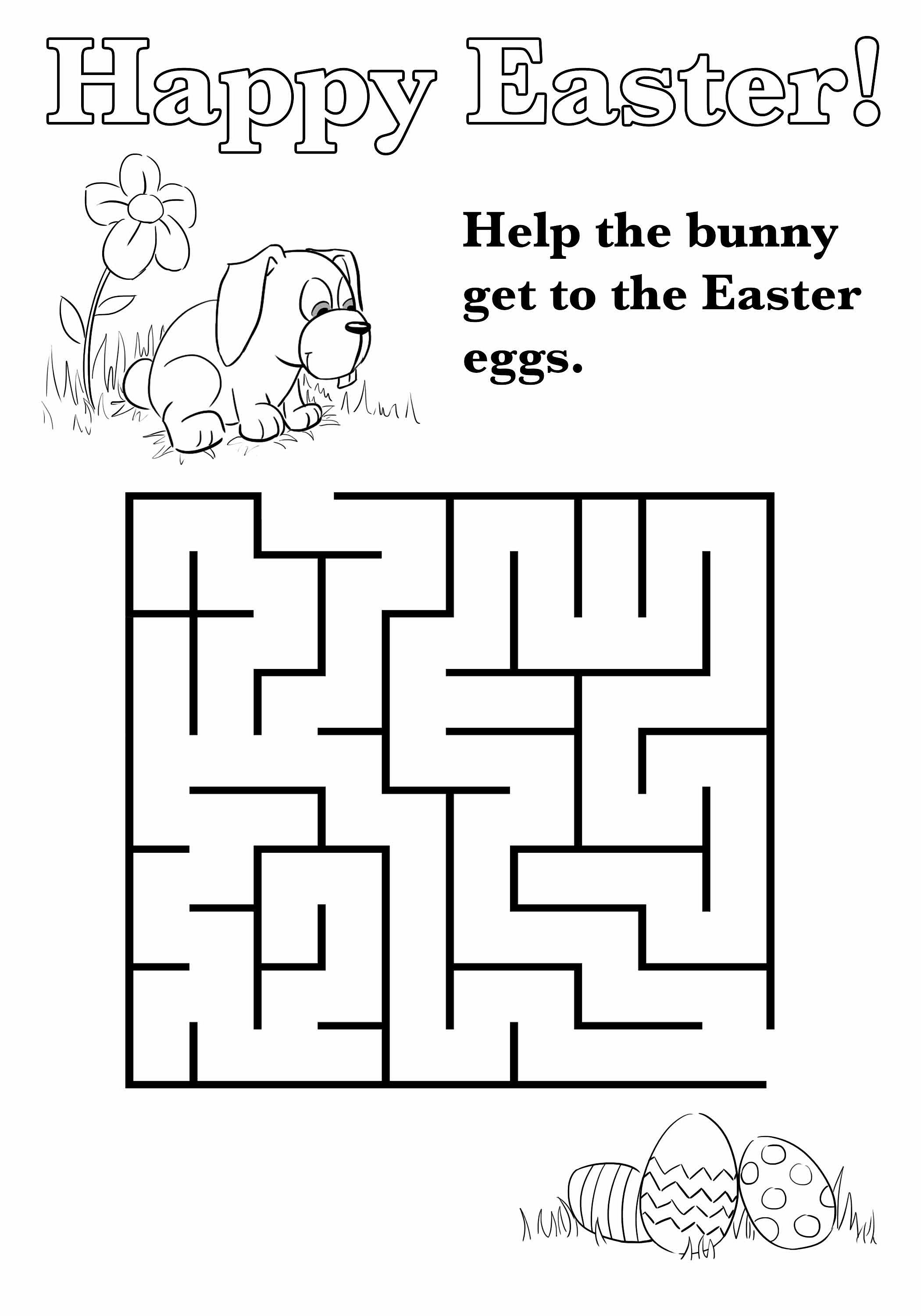 Easter Maze Black and White