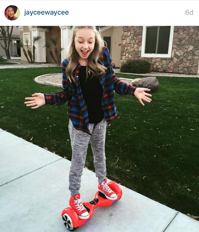 Jaycee Wilkins on hoverboard Celebrities on hoverboards mega list 2016 best hoverboard brands