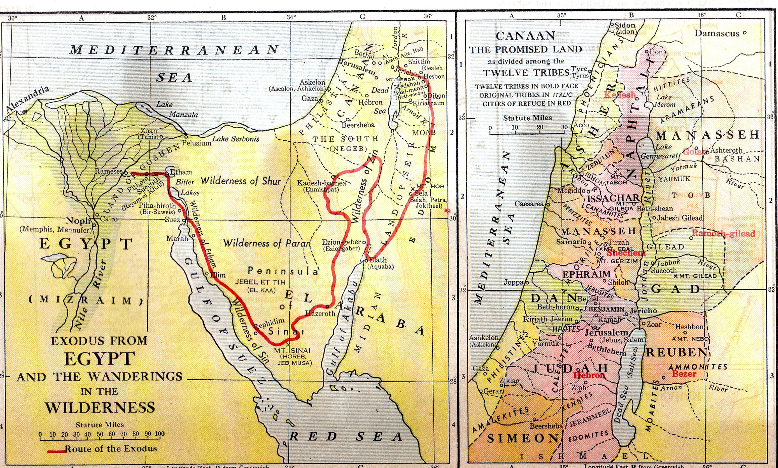 Historical Maps And Atlases - Map of egypt during exodus