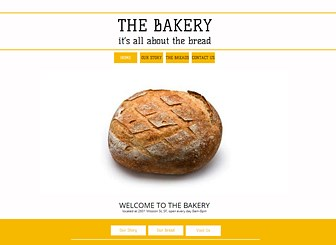 The Bakery Template - A fresh and upbeat website template awaits your bakery, café, or catering company. Add text to share the philosophy of your business and upload photos to create a mouthwatering gallery of your wares. Start editing to build your online presence!