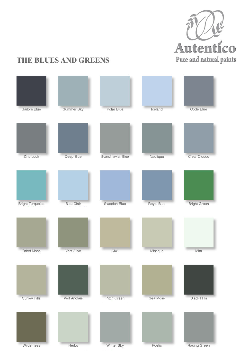 Leyland paints colour chart - Gr Grey Colour Chart The Blues And Greens