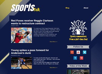 Sports Blog Template - Sports enthusiasts look no further! The perfect blog for anyone mad about sports, use this specially designed template to write posts on breaking sports news and updates. To get started it couldn't be simpler; just click on blog posts and customize the text and images! In just a few clicks you can have your very own sports commentary blog and begin sharing with your fans all your latest analysis and opinions!