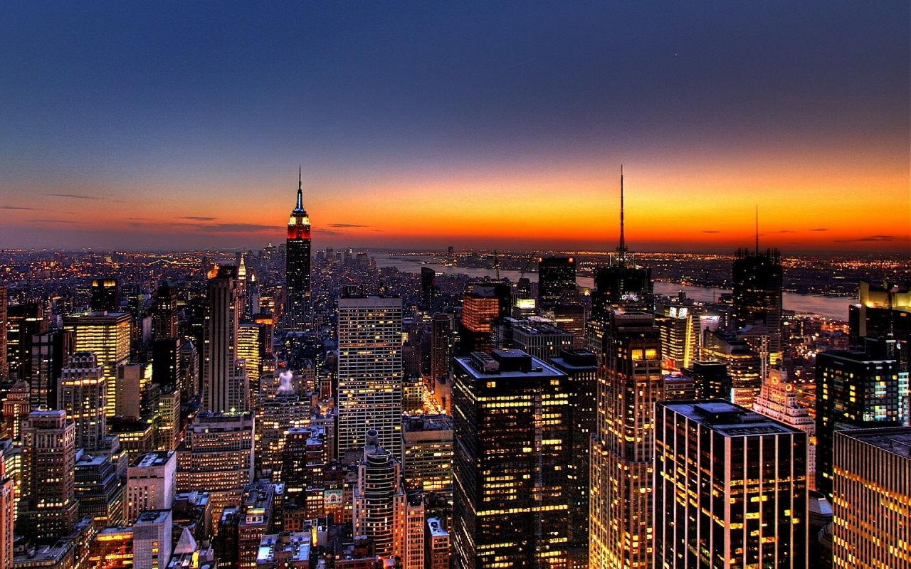 New York Skyline At Sunset 1280x800