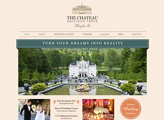 Wedding Venue Template - With elegant fonts and classic design, this template is poised to showcase your event venue. Customize the gallery to exhibit your rooms and grounds and add text to highlight industry reviews and customer testimonials. Design a professional website and watch your business grow.