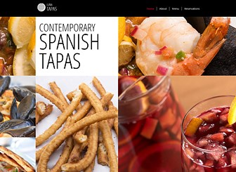 Tapas Restaurant Template - A contemporary and cosmopolitan website template perfect for any hip bar or restaurant. Whet appetites by customizing the stylish menu and add your own images to get mouths watering! Launch your restaurant's website today and watch as your business soars to success!