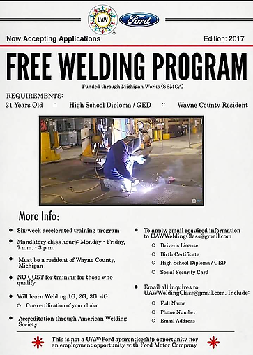 UAW Ford offers FREE Welding Program | Home | Detroit District 4