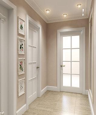 Дизайн коридора со светлыми дверями