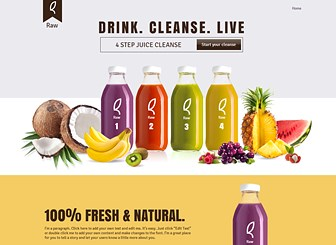 Drink Product Landing Page Template - A refreshing one-page template featuring vivid colors and crisp design. Customers can review your brand's unique benefits and make purchases by adding items to their carts. Start editing to share your line of healthy products with the world!
