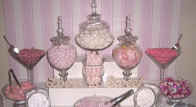 Candy buffet outdoor wedding cermony pink and white candy buffet