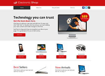 Electronics Shop Template - Create a customer friendly website that allows viewers to browse items in your store with ease. Showcase your wares by uploading images to the photo gallery and adding text descriptions. Simple to customize and update, this free template allows you to highlight new sale items as they arrive.