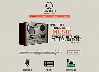 Recording Studio Template - Call attention to your recording studio with this hip template. The textured background and unique illustrations create a retro vibe, while the layout offers plenty of areas to showcase your equipment, staff, and clients. Start editing to make some noise!
