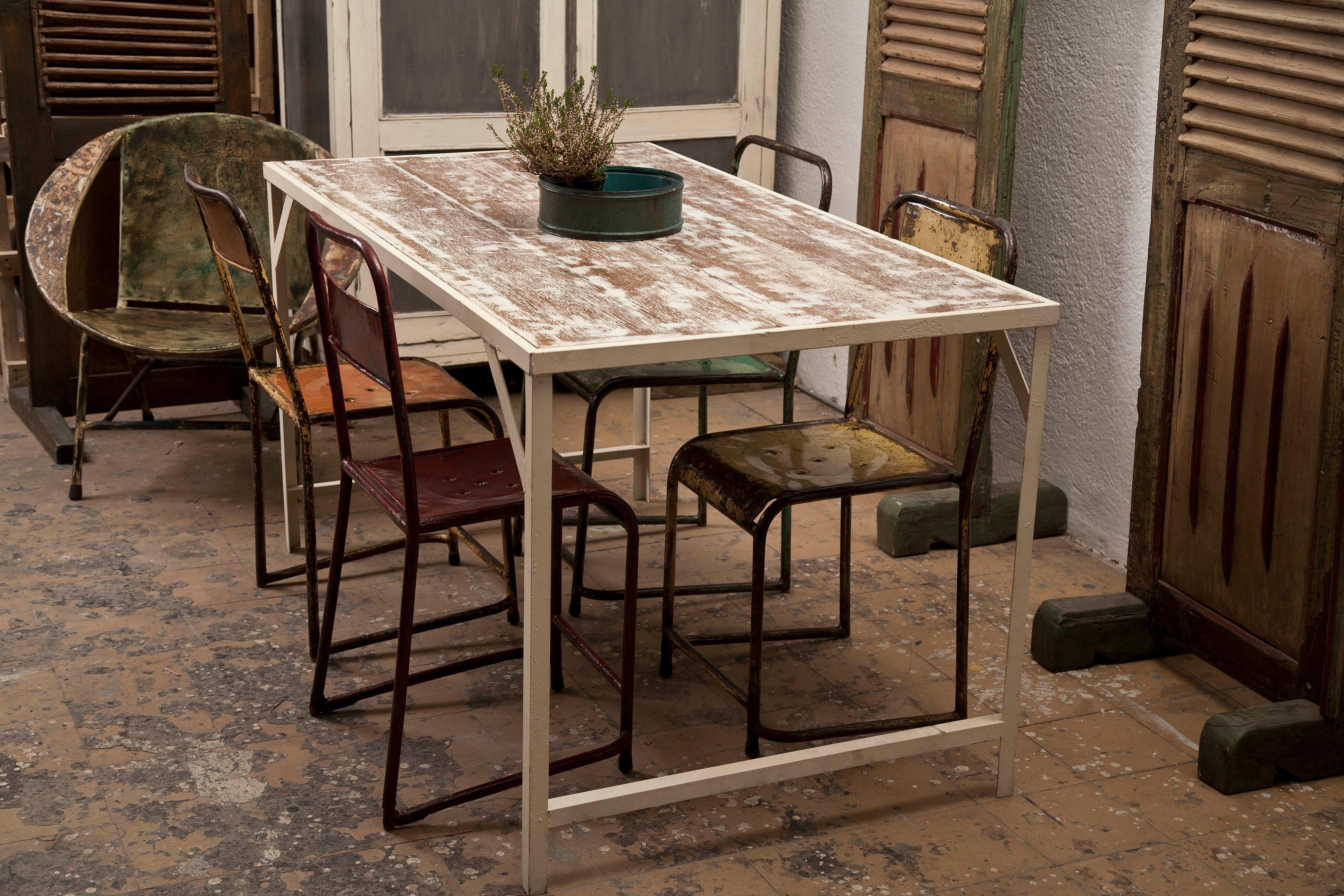 Calma chechu venta de muebles vintage industrial mesa for Mesa hierro y madera