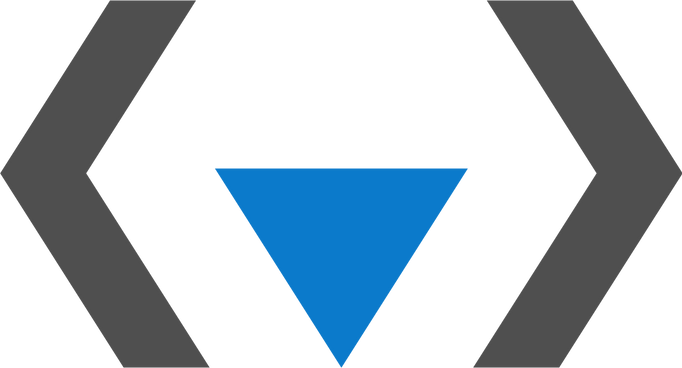 QueerCoded logo consisting of two grey brackets and a pink inverted triangle