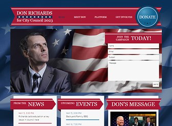 The Politician Template - Rally support with an attention grabbing website! Perfect for politicians and elected officials, this website template gives you an excellent platform to voice your manifesto, post videos and links and raise money for your campaign. Click now to begin customizing your perfect website and bring in the votes!