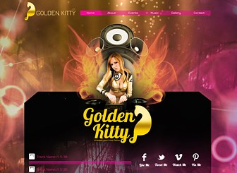 Sassy DJ Template - Walk on the wild side with this fun and flirty template. Advertise events and upload tracks and videos right to the homepage to let visitors sample your beats. Get online and get the party started!