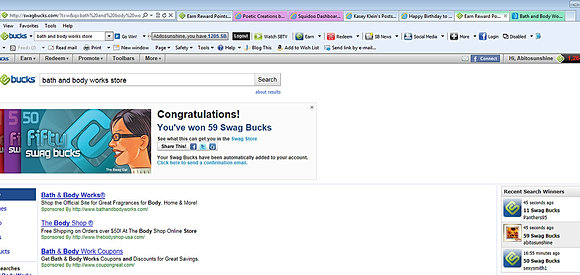 Earning Swagbucks which translates into cash and prizes