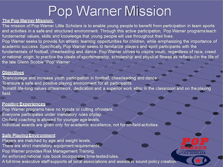 pop warner cheerleading rule book