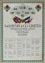 A & Henry & Co. Ltd Roll of Honour