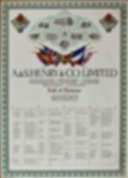 A & Henry & Co. Ltd Roll of Honour