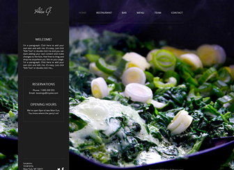 Restaurant Site Template - Grab the attention of food lovers with the tantalizing background and dynamic layout of this free template. Add a tasteful menu and upload images to show off your sumptuous creations. Customize the color scheme and design to best represent your establishment's dining experience.