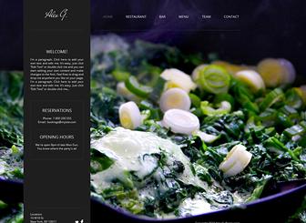 Restauracja Template - Przyciągnij uwagę miłośników jedzenia przy pomocy kuszącego tła i dynamicznego układu tego darmowego szablonu. Dodaj smakowite menu i zamieść zdjęcia przepysznych potraw. Dostosuj kolorystykę i wygląd, by jak najlepiej prezentowały kulinarną ofertę twojej firmy.