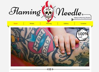 Tendenze Tattoo Template - Lascia il segno con i colori vivaci e la grafica stravagante di questo template alla moda. Presenta i tuoi artisti, pubblicizza i tuoi servizi e crea una galleria dei tuoidisegni unici. Realizza un sitoinnovativo per costruire la tua presenza online.