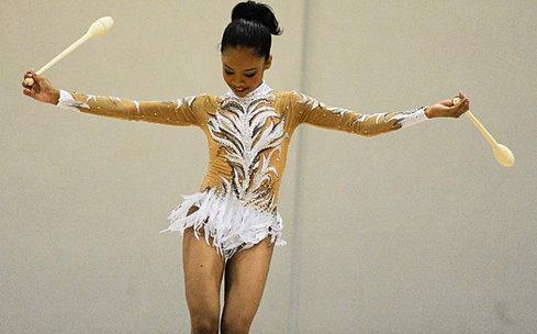 Rhythmic gymnastics leotards white