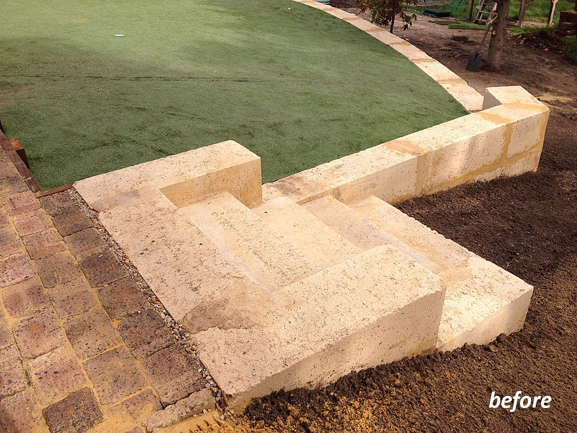 Landscaping With Limestone Blocks : Landscaping before and after