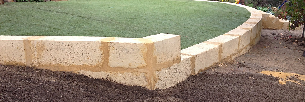 Landscaping With Limestone Blocks : Limestone timber panel and post retaining