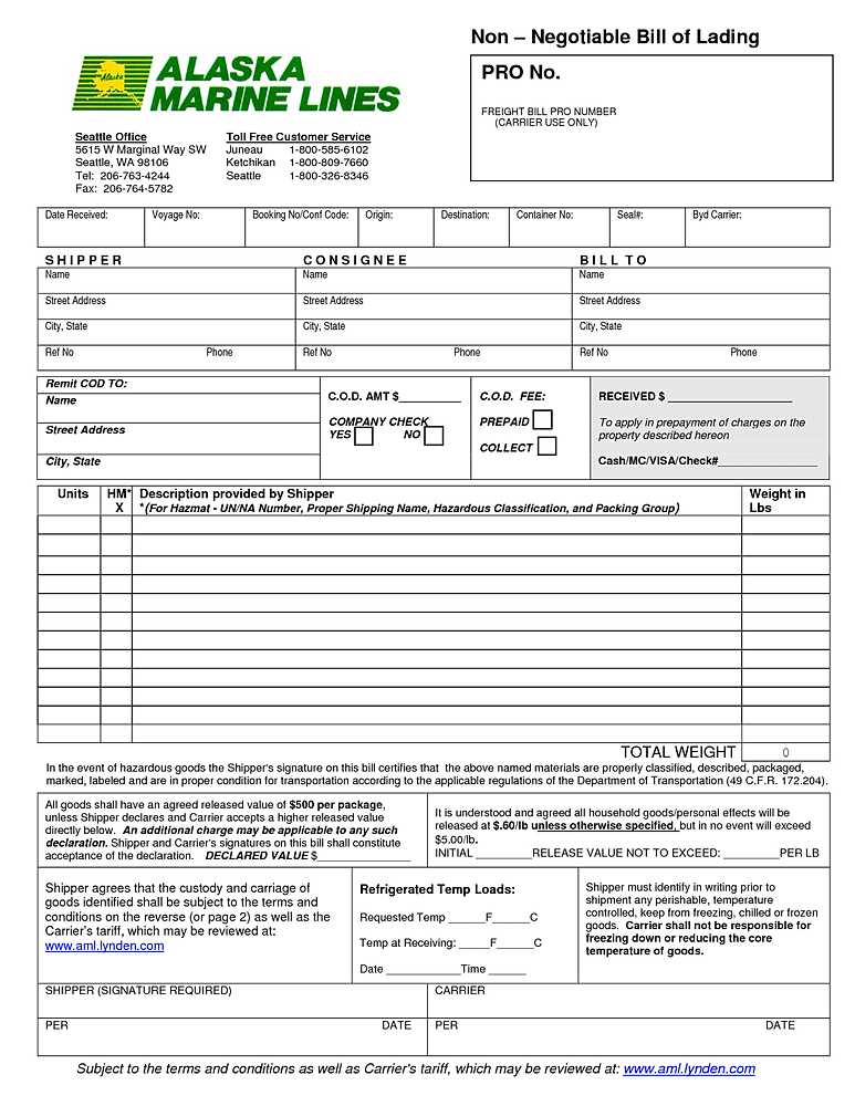 WISDOM FIELD INTERNATIONAL LTD – Sample of Bill of Lading Document
